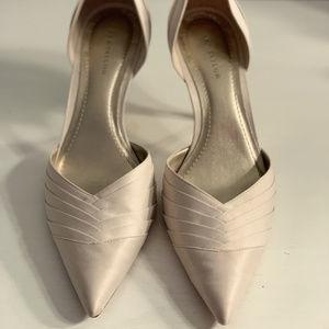 Elegant bone satin kitten heel pumps